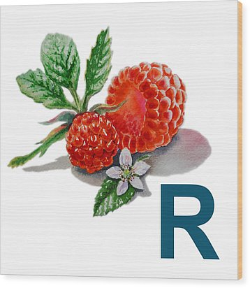 R Art Alphabet For Kids Room Wood Print by Irina Sztukowski