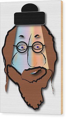 Wood Print featuring the digital art Rabbi David by Marvin Blaine