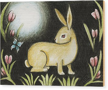 Rabbit And The Butterfly . . . From The Tapestry Series Wood Print by Terry Webb Harshman