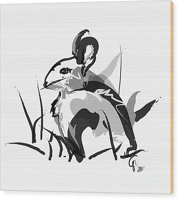 Rabbit Bunny Black White Grey Wood Print by Go Van Kampen