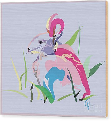 Rabbit - Bunny In Color Wood Print by Go Van Kampen