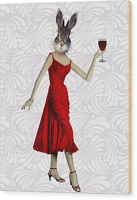 Rabbit In A Red Dress Wood Print by Kelly McLaughlan