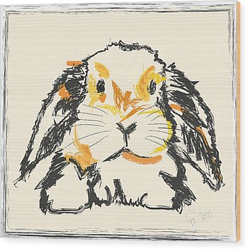 Rabbit Jon Wood Print by Go Van Kampen