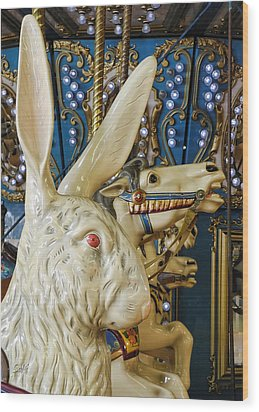 Wood Print featuring the photograph Rabbit On The Carousel by Sami Martin
