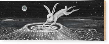 Rabbit On The Moon Wood Print by Jerod  Kytah