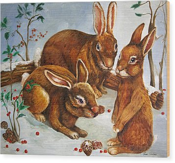Rabbits In Snow Wood Print by Enzie Shahmiri
