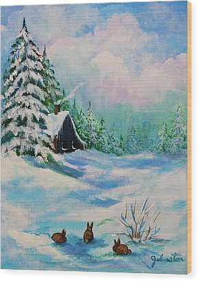 Wood Print featuring the painting Rabbits Waiting For Spring by Bob and Nadine Johnston