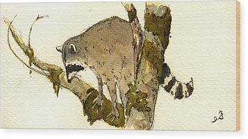 Raccoon On A Tree Wood Print by Juan  Bosco