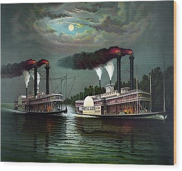 Race Of The Steamers Robert E Lee And Natchez Wood Print by War Is Hell Store