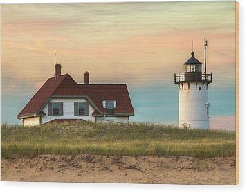 Race Point Light At Sunset Wood Print