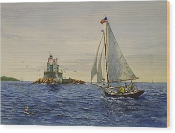Race Rock Light To The Windward Wood Print