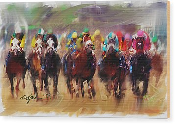 Race To The Finish Line Wood Print by Ted Azriel