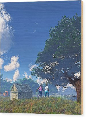 Race To The Swing Wood Print by Ken Morris
