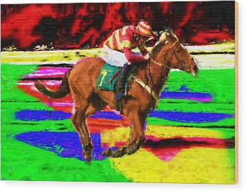 Racehorse Wood Print by Ron Harpham