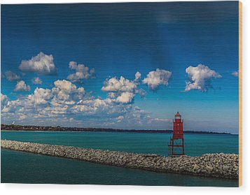 Racine Harbor Lighthouse Wood Print