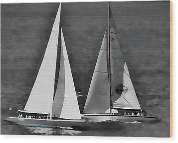 Racing At Sea Wood Print by Pamela Blizzard