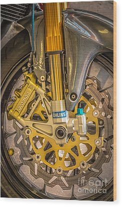 Racing Bike Wheel With Brembo Brakes And Ohlins Shock Absorbers Wood Print by Ian Monk