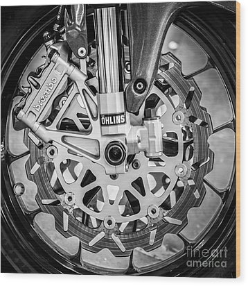 Racing Bike Wheel With Brembo Brakes And Ohlins Shock Absorbers - Square - Black And White Wood Print by Ian Monk