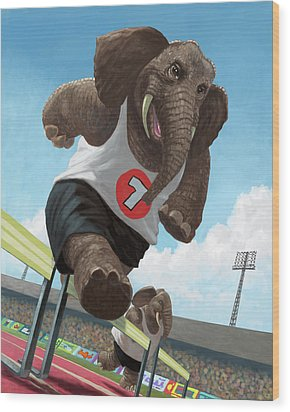 Racing Running Elephants In Athletic Stadium Wood Print by Martin Davey