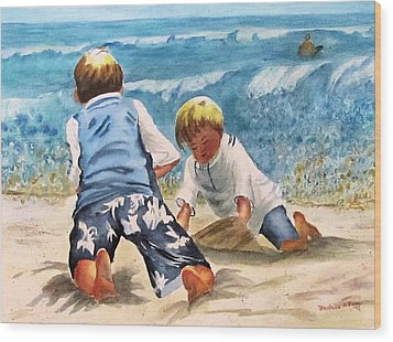Racing The Tide Wood Print by Barbara Jung