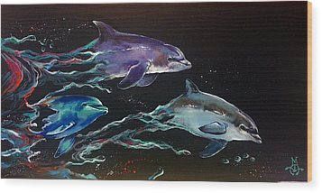 Racing The Waves Wood Print by Marco Antonio Aguilar