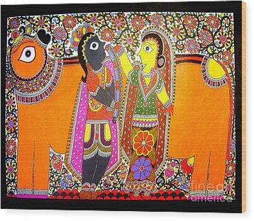 Radha And Krishna Wood Print