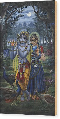 Radha And Krishna On Full Moon Wood Print by Vrindavan Das