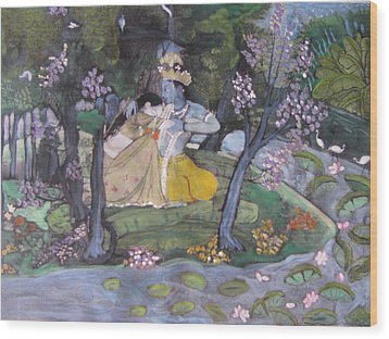 Wood Print featuring the painting Radha And Krishna by Vikram Singh
