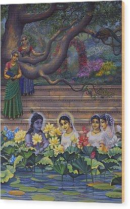Radha And Krishna Water Pastime Wood Print by Vrindavan Das