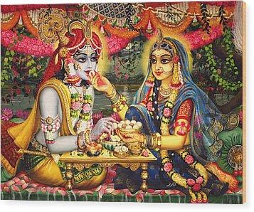 Radha Krishna Bhojan Lila On Yamuna Wood Print by Vrindavan Das