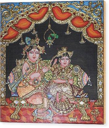 Radha Krishna Wood Print by Jayashree