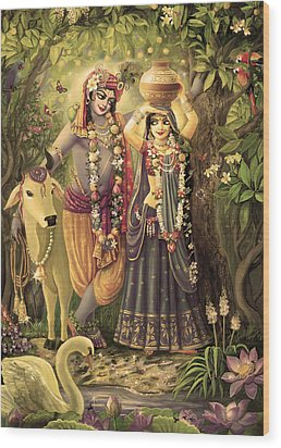 Radha-krishna Radhakunda 2 Wood Print by Lila Shravani