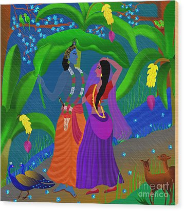 Radha Likes Rain Wood Print