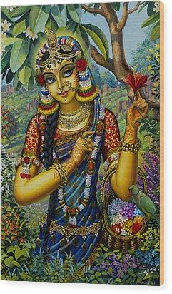 Radha On Govardhan Hill Wood Print by Vrindavan Das