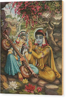 Radha Playing Vina Wood Print by Vrindavan Das