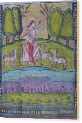 Wood Print featuring the painting Radha by Vikram Singh