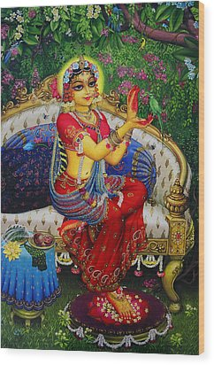 Radha With Parrot Wood Print by Vrindavan Das
