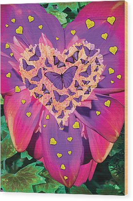Radiant Butterfly Heart Wood Print by Alixandra Mullins