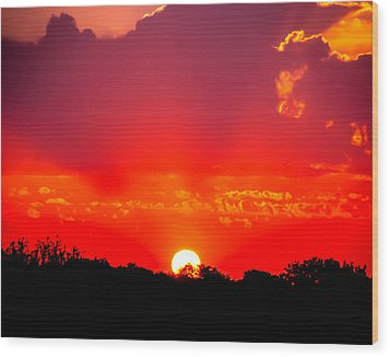 Wood Print featuring the photograph Radiant Sunset by Dee Dee  Whittle
