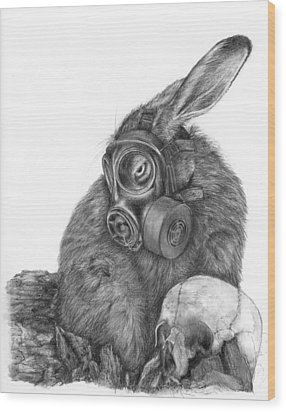 Radioactive Black And White Wood Print by Penny Collins