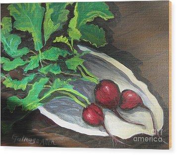Radishes Wood Print by Gretchen Allen