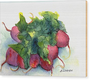 Wood Print featuring the painting Radishes by Sandy Linden