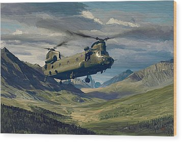 Raf Chinook Ch-47 On Exercise Wood Print by Nop Briex