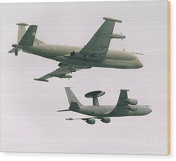 Wood Print featuring the photograph Raf Nimrod And Awac Aircraft by Paul Fearn