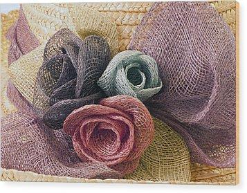Raffia Roses Macro Wood Print