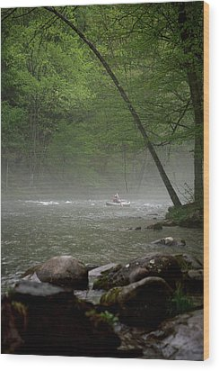 Rafting Misty River Wood Print