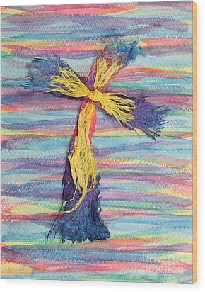 Ragged Cross Wood Print by Pattie Calfy