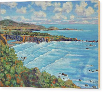 Wood Print featuring the painting Ragged Point California by Dwain Ray