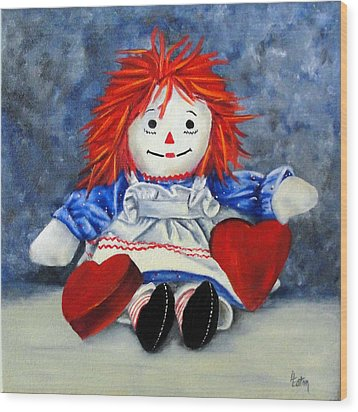Raggedy Ann With Hearts Wood Print by Helen Eaton
