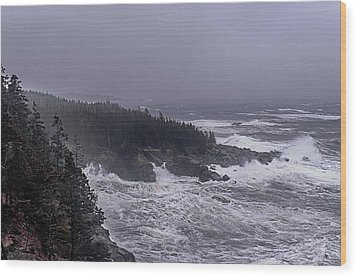 Raging Fury At Quoddy Wood Print by Marty Saccone